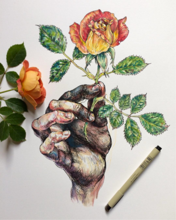 Sensual Drawings of Gnarled Hands Touching Nature | Monday Insta Illustrator
