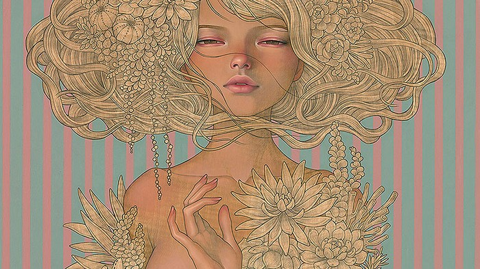 Anime Meets European Art Nouveau in Blossoming Female Portraits