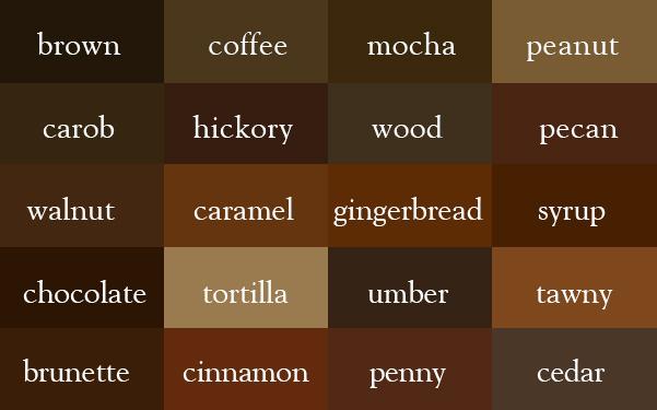 Unterschiedliche braune Farbtöne und ihre Namen
