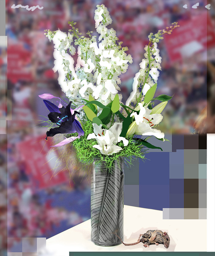 digital flower collages capture anti trump protest chaos creators after flowers for algernon 5 dead mouse 2017 courtesy of gregory eddi jones ldquo