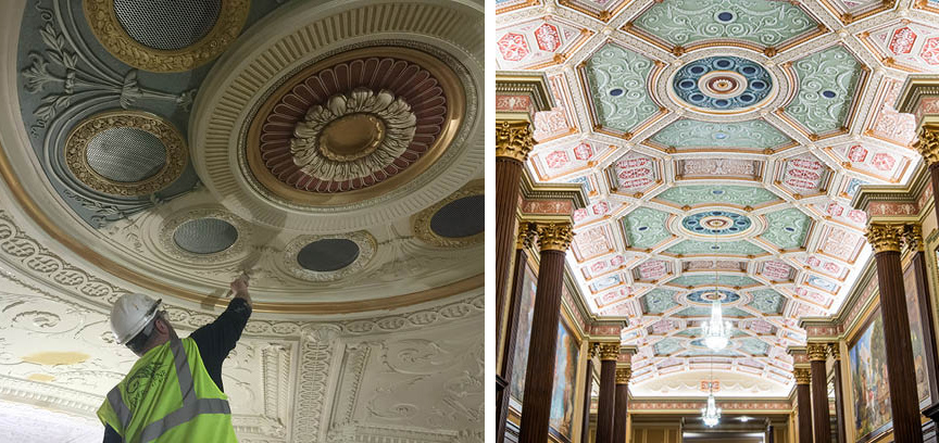 Merveilleux At Left, Work In Progress At The Ohio Theatre, And Completed Restoration At  Right.