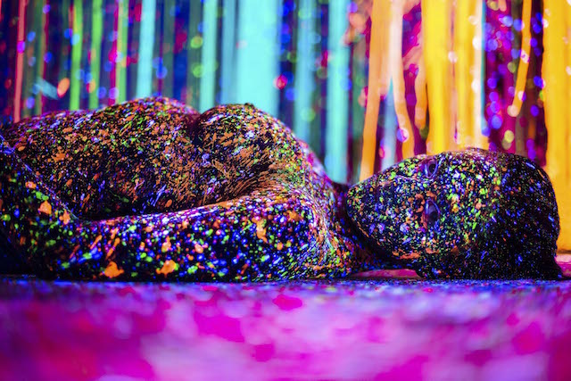 Blacklight Splatter Painting Makes Models into Neon ... Positive Space Photography