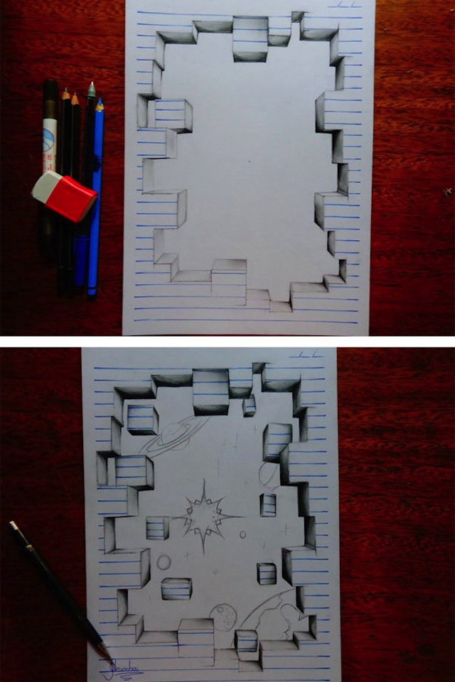 Teenage Artist Warps Notebook Paper Into 3d Drawings Vice