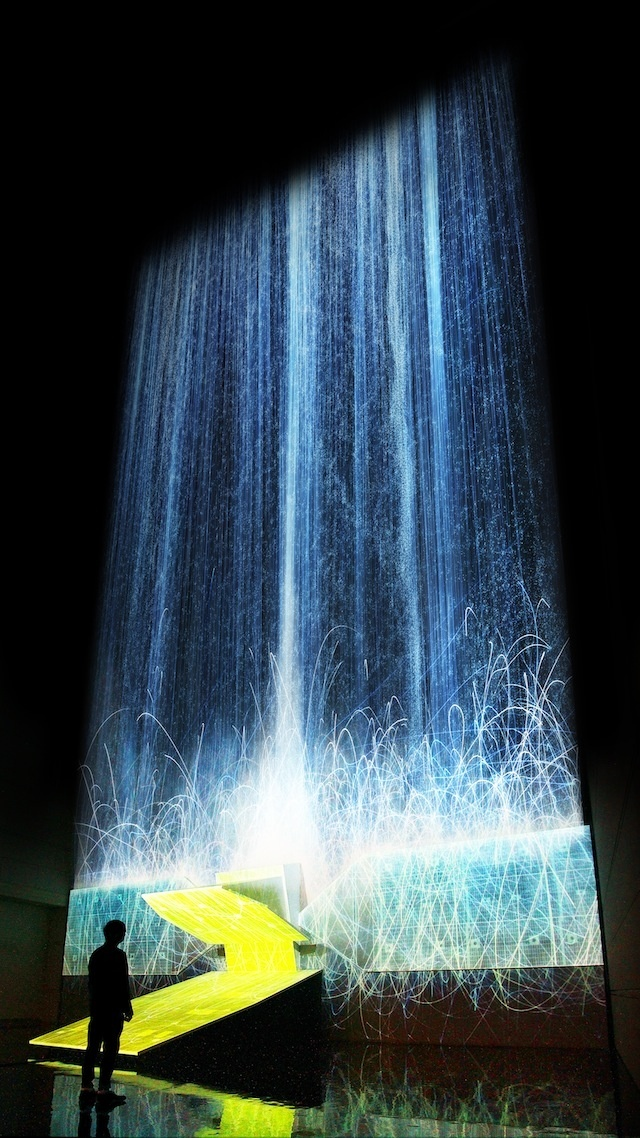 Digital Waterfall Projected On A Satellite Gives The Illusion Of