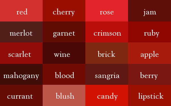 Unterschiedliche rote Farbtöne und ihre Namen