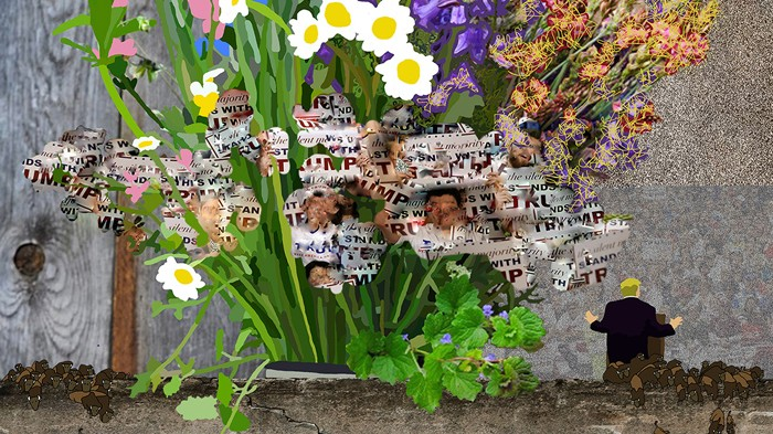 digital flower collages capture anti trump protest chaos creators combining themes from flowers for algernon post election chaos artist gregory eddi jones collage art is just what 2017 needs
