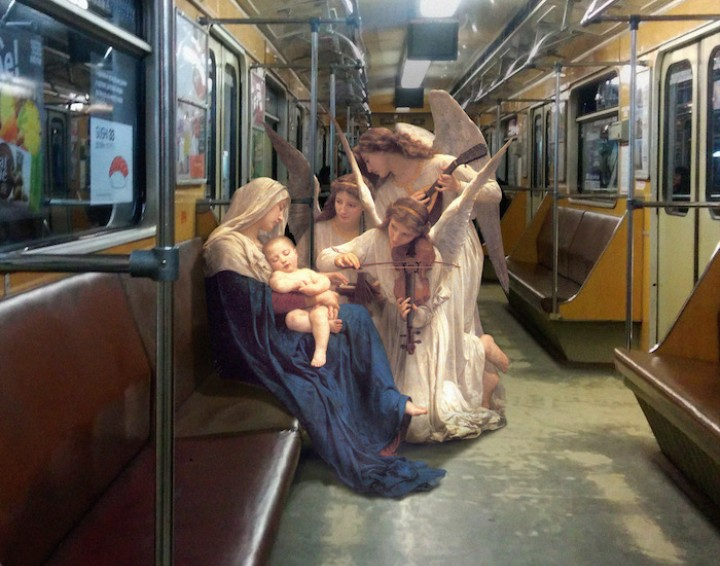 Take the Subway with Angels in These Classical Painting Mashups