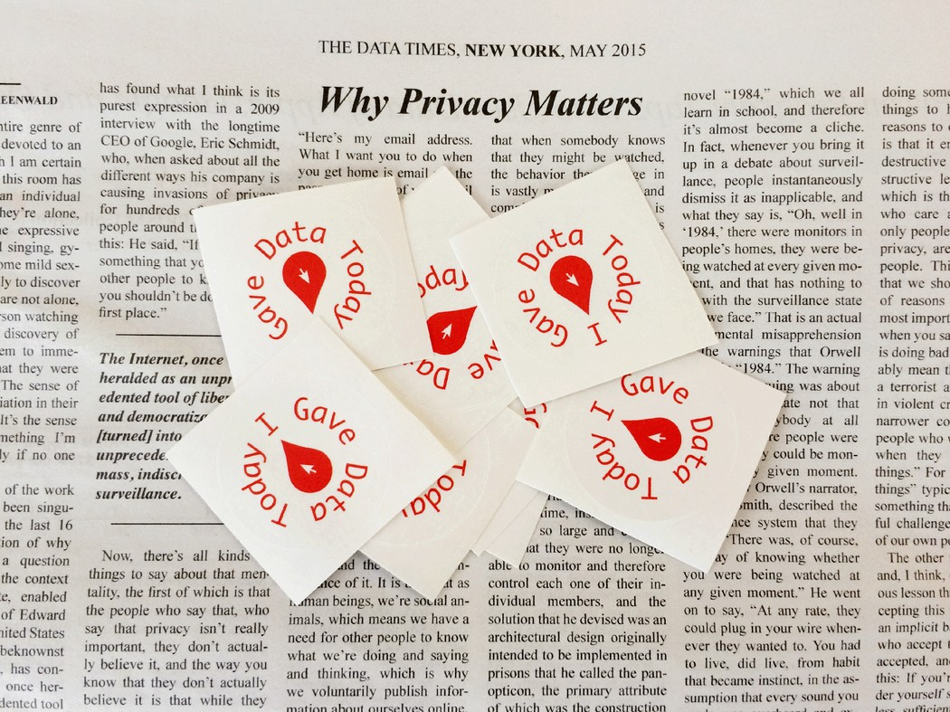 "A newspaper article title ""Why Privacy Matters"" with stickers on top reading ""I gave data today."""