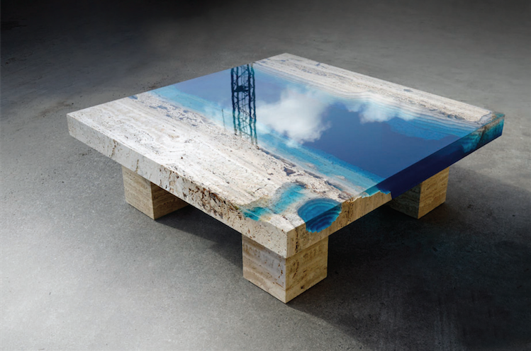 A river runs through these marble resin tables creators for Diy river table