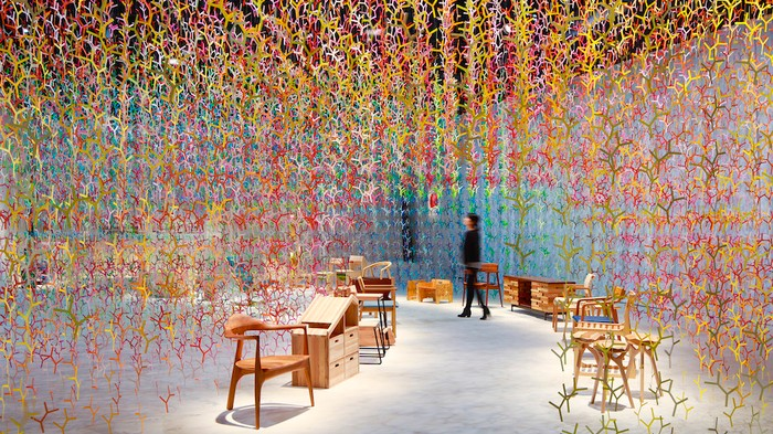 20,000 Fractals Create a Hanging Rainbow Forest