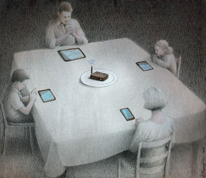 Dark Political Cartoons Show How Technology Is Our New Master Vice