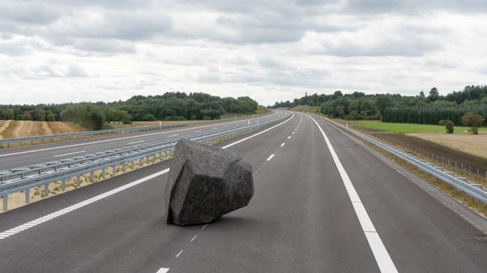 Artists Left a Boulder in the Middle of a Highway and Won't Say Why